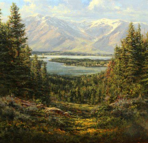 Kenny McKenna Jackson Lake from Signal Mt. 38 x 40 $17,600