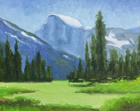 Tracy Avant-The Half Dome at Yosemite, 8 x 10- Oil