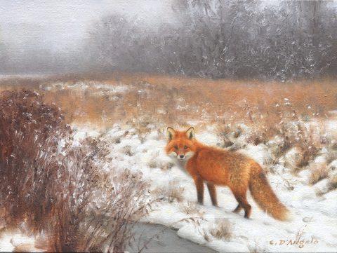 Claudio d angelo-Red in Grey Weather-Oil-9x129$1600
