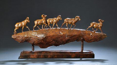 Tim Shinabarger,Ridge Runners, bronze, 11.5 x 26 x 4.5, $4,800 (2)